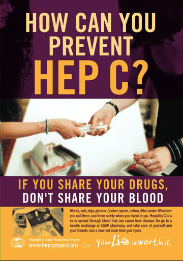NYC Poster flyer How Can You Prevent Hep C? Harm Reduction and safe heroin injection practices.