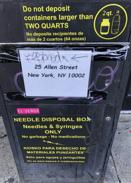 Image of the Harm Reduction Needle Exchange Drop Box 25 Allen St. NYC
